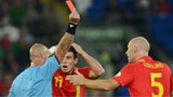 James Collins receives a red card against Belgium