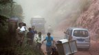 Residents flee as rocks fall in Zhaotong, Yunnan province Photo: 7 September 2012