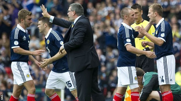Scotland players with coach Craig Levein