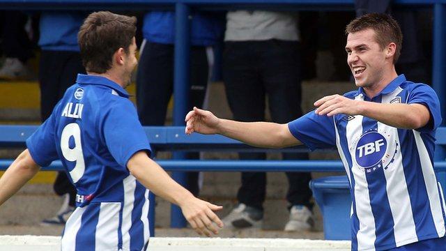 Curtis Allen celebrates with goal scorer Stephen Lowry