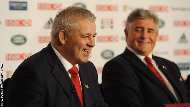 Lions and Wales coach Warren Gatland and team manager Andy Irivine