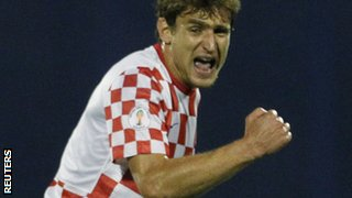 Jelavic celebrates after scoring the winner for Croatia against Balkan rivals Macedonia