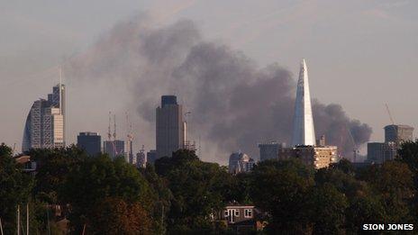 Smoke from Denmark Hill fire