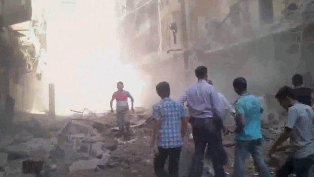 Rubble after attack in Aleppo