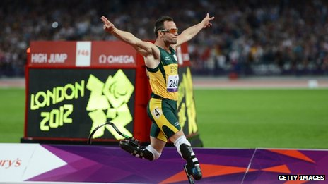 South African athlete Oscar Pistorius winning 400m T44 at London 2012 Paralympic Games