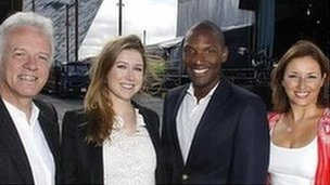 Soprano Hayley Westenra and American singer Noah Stewart with hosts Noel Thompson (left) and Claire McCollum (right) at the Titanic Slipways, Belfast, on Saturday.