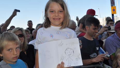 Elsie with her signed drawing of Bradley Wiggins