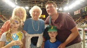Brigid Batt-Rawden, Valerie Batt-Rawden, David Batt-Rawden, Hannah Batt-Rawden and Jamie Batt-Rawden in the Basketball Arena