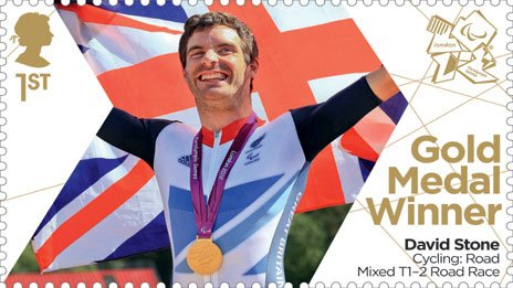 Stamp issued in honour of Paralympic cyclist David Stone. Picture: Royal Mail.