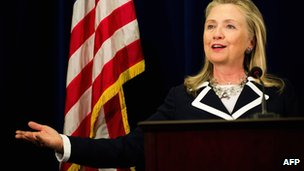 US Secretary of State Hillary Clinton during a press conference in Vladivostok on 9 September 2012