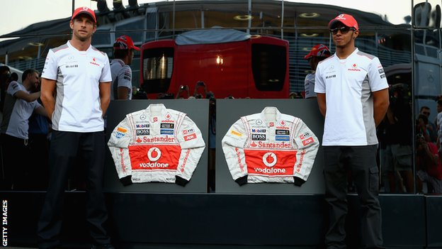 Jenson Button (left) and Lewis Hamilton (right)