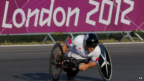 Italy&#039;s Alessandro Zanardi in action during the Mixed H 1-4 Team Relay at Brands Hatch on Saturday