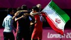 Islamic Republic of Iran 7-a-side football team celebrate after winning the bronze medal