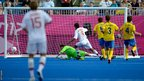 Eduard Ramonov of Russian scores his team's first goal during the 7-a-side football gold medal match between Russia and Ukraine