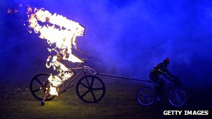 Burning cyclist
