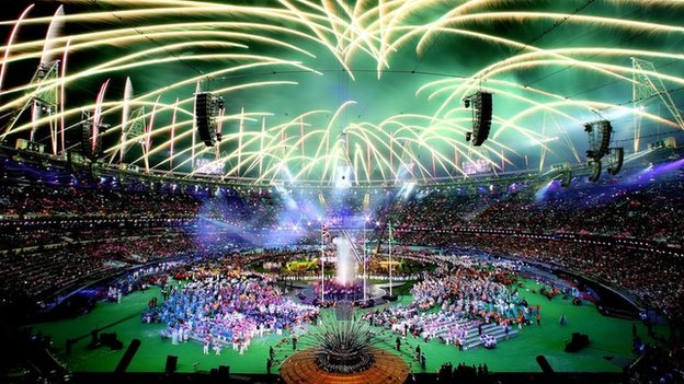 Fireworks at the closing ceremony of the London Paralympic games.