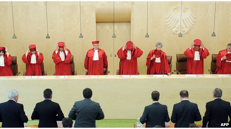 Judges in the Second Senate of the German Federal Constitutional Court on 19 July 2012