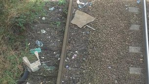 Smashed TV on railway track