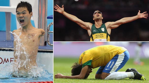 Clockwise from left: China's Zheng Tao, South Africa's Oscar Pistorius and Brazil's Neymar