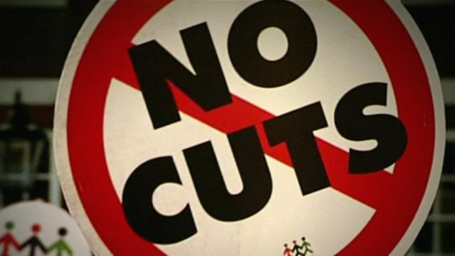 No Cuts protest sign