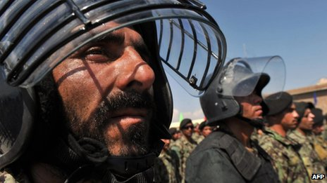 Afghan National Army (ANA) soldiers stand in formation during a ceremony handing over the Bagram prison to Afghan authorities - 10 September