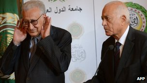 UN and Arab League envoy to Syria Lakhdar Brahimi (L) and Arab League General Secretary Nabil al-Arabi hold a press conference at the Arab League headquarters in Cairo