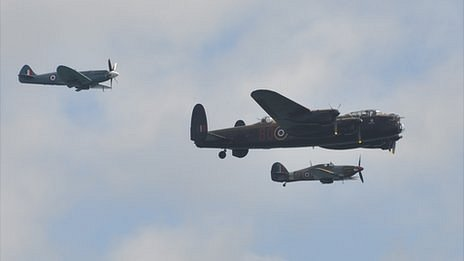 Battle of Britain Memorial Flight displays over Guernsey
