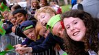 Hundreds of children watched the start of the Tour of Britain Nottingham stage