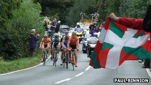 Cyclists near Cross o' th' Hands during the Tour of Britain