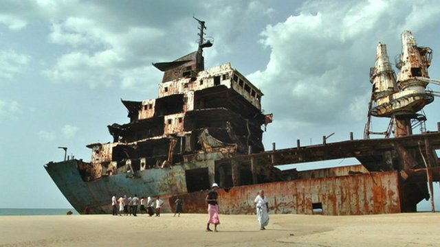 A ship used as a base for the Tamil Tigers