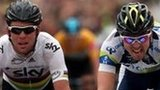 Mark Cavendish (left) is beaten by Leigh Howard
