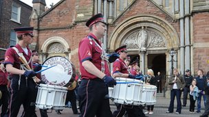 Band outside St Patrick&#039;s Catholic church