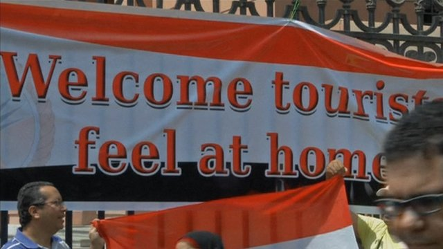 A banner welcoming tourists in Cairo