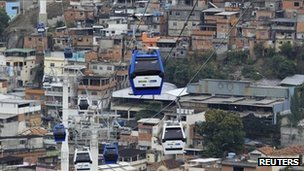Cable car in Rio favela, Alemao