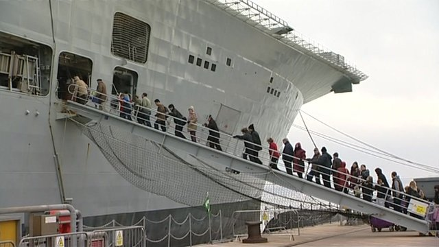 People queuing to see HMS Ark Royal