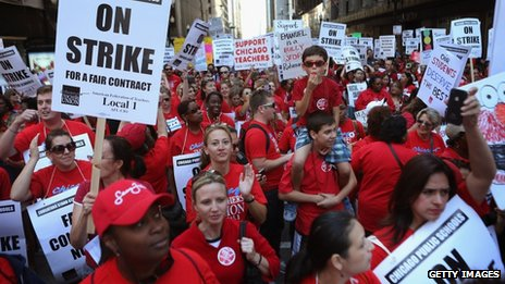 Thousands of Chicago public school teachers and their supporters march in Chicago, Illinois, on 10 September 2012