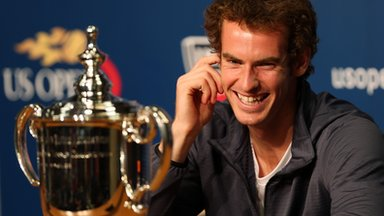 Andy Murray answers questions in the post-match press conference