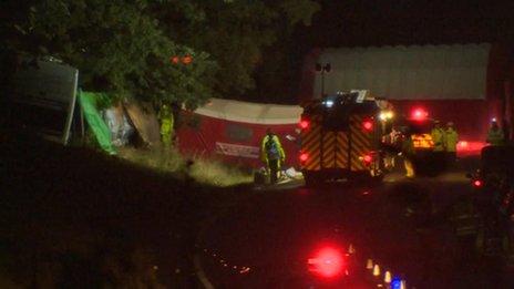 Scene of the coach crash in Surrey