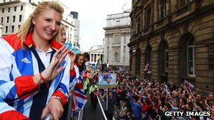 Rebecca Adlington at the victory parade in London on Monday