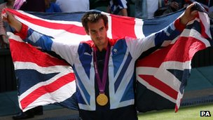 Andy Murray after winning the Olympic gold medal