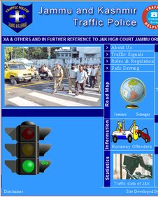 Traffic lights guidance on the website of Jammu and Kashmir traffic police