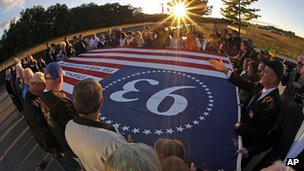 Sunset memorial at Shanksville. 10 Sept 2012