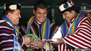 Rafael Correa, centre, with Venezuela's Hugo Chavez (left) and Bolivia's Evo Morales