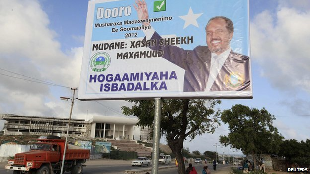 An election poster for Hassan Sheikh Mohamud