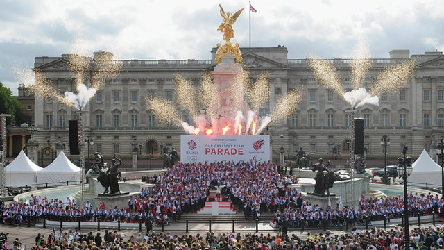 Team GB athletes during the victory parade