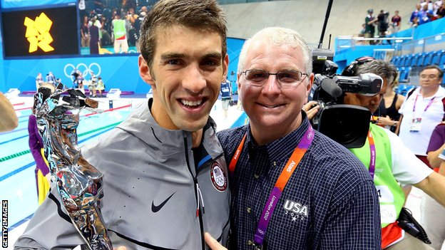 Bob Bowman [r] with Michael Phelps