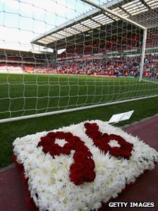 Wreath at Kop at Anfield