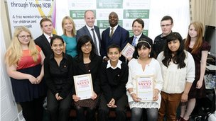 Young people with PFEG chief executive Tracey Bleakley, MP Justin Tomlinson, No 10 adviser Shaun Bailey and MP Duncan Hames