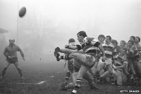 David Bishop kicks the ball for touch during Pontypool's match against Australia in 1984