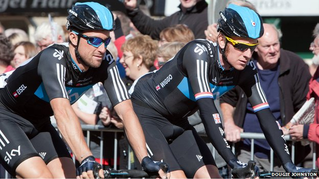 Bradley Wiggins and Bernie Eisel in Jedburgh